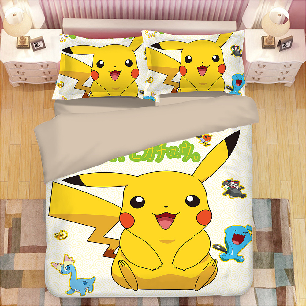 pikachu Pokemon 3D bedding set Duvet Covers Pillowcases Cartoon anime Pokemon comforter bedding sets bedclothes bed