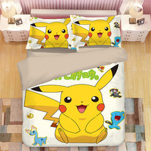 pikachu Pokemon 3D bedding set Duvet Covers Pillowcases Cartoon anime Pokemon comforter bedding sets bedclothes bed linen(China)
