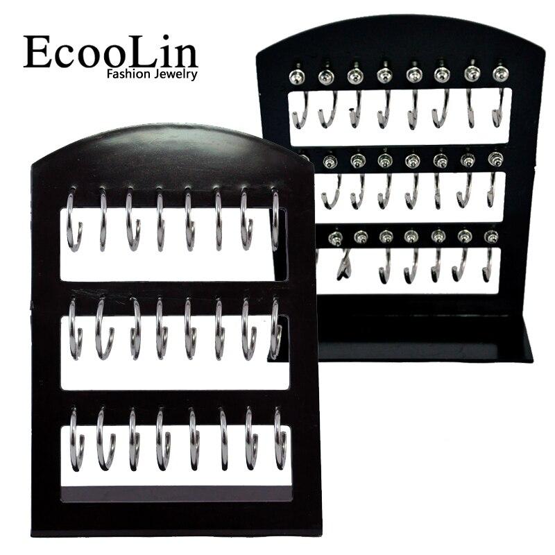 1 Card 24Pcs Circular Metal Fashion Stainless Steel Stud Earrings For Women Men Wholesale Jewelry Bulk Sets LR289