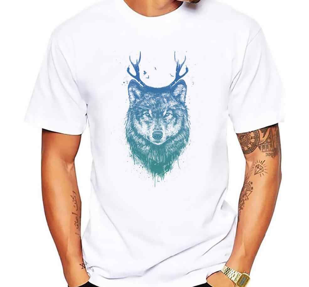 Men's Fashion Deer wolf Printed T-Shirt Short Sleeve Novelty O-neck Design Top Hipster funny Big Bad Wolf Cool Men T-shirts