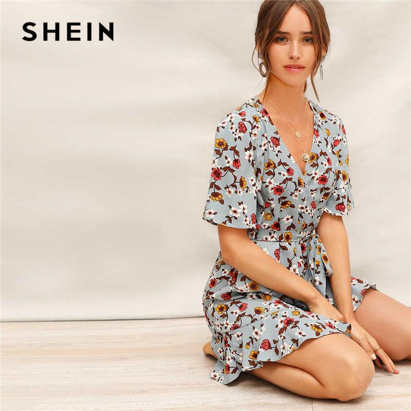 54d4958b6a SHEIN Blue Ruffle Hem Surplice Wrap Floral Belted Summer Short Boho Dress  Women V-Neck