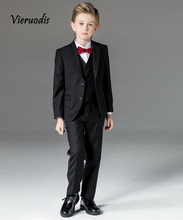 Black Wedding Groomsmen Suits Children Kids Formal Party Tuxedos Custom Made 3 piece set