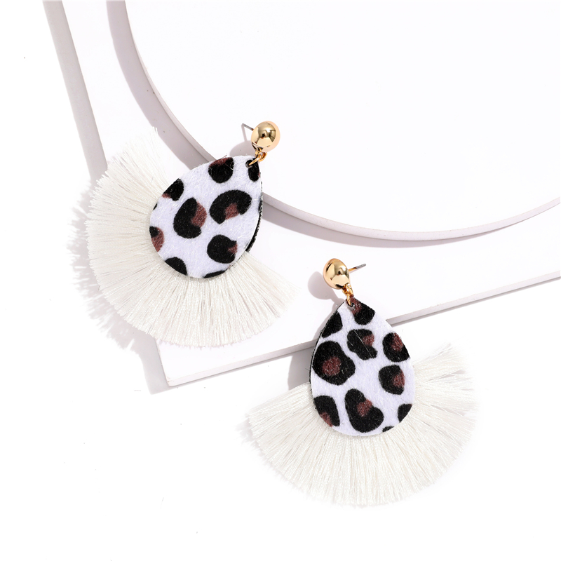 Bohemia Leopard Dangle Drop Earrings Biscuits Round Resin Cheetah Tassel Earrings for Women sector Jewelry Pendientes oorbellen 6