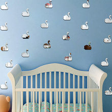 3D Acrylic Mirror Wall Sticker Cartoon Swan Wall Sticker Children's Room Kindergarten Background Wall Green Decorative Sticker(China)