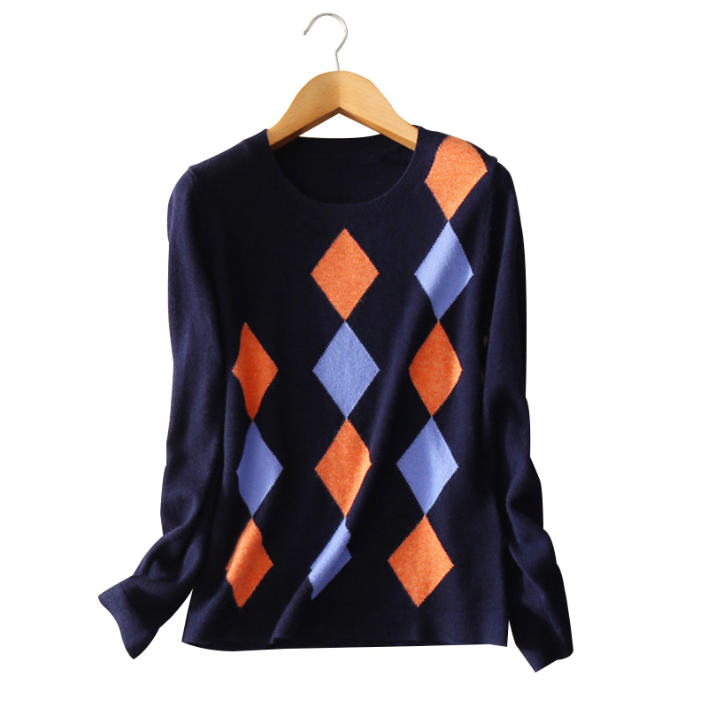 100 pure cashmere font b Women s b font pullovers knitted argyle O neck long sleeves
