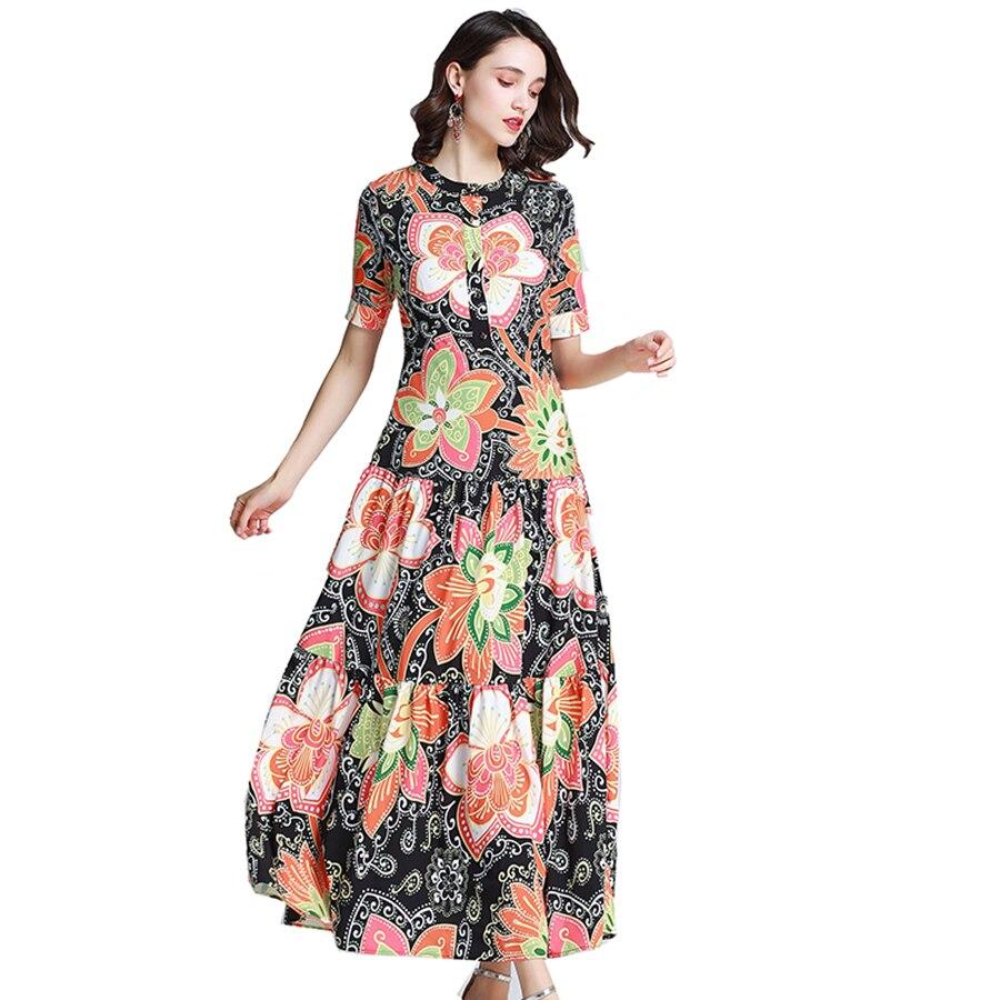 VERDEJULIAY Vintage Printed Long Dresses 2019 Summer Fashion Boho Dress Short Sleeve Flower Printed Vintage Ankle