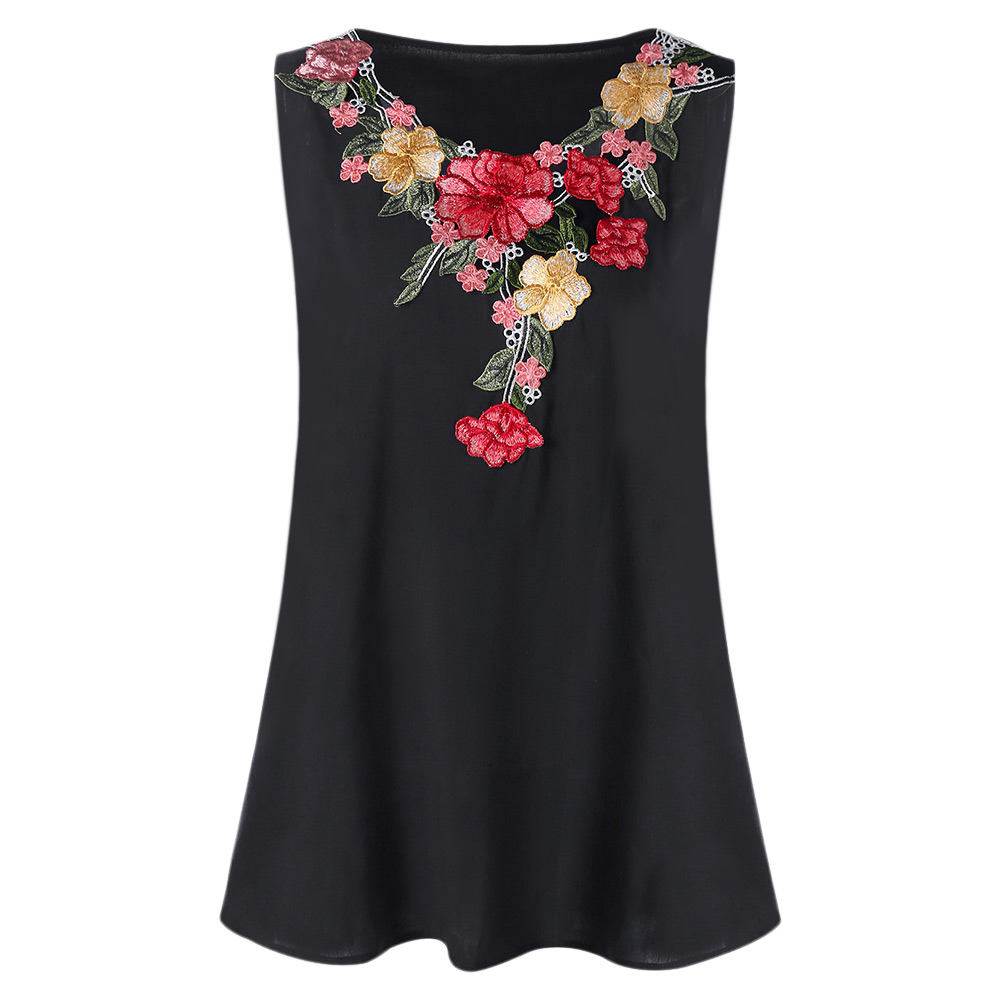 5275c8f5bec Wipalo Women Tanks Summer Plus Size 5XL Embroidery Floral Tank Top Fashion  Ladies Sleeveless Round Neck Tops Tees Big Size-in Tank Tops from Women s  ...
