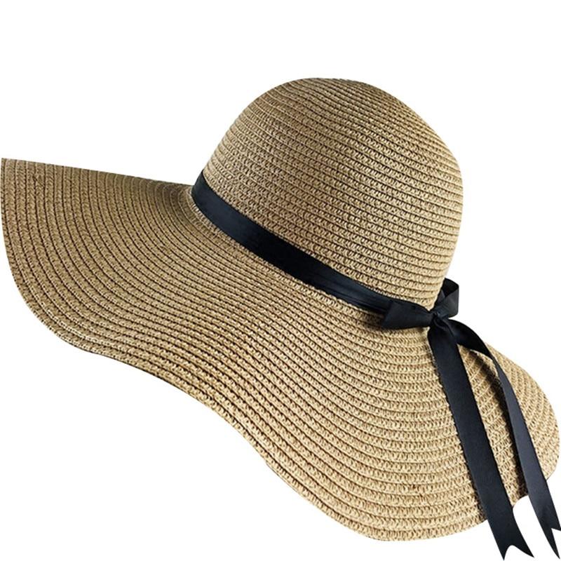 883a83c53 US $5.94 40% OFF|2019 simple Foldable Wide Brim Floppy Girls Straw Hat Sun  Hat Beach Women Summer Hat UV Protect Travel Cap Lady Cap Female-in Women's  ...