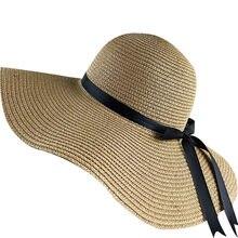 2019 simple plegable de ala ancha disquete niñas sombrero de paja sol  sombrero de playa de 1254431dbfe