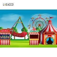 Laeacco Cartoon Amusement Park Circus Baby Child Photography Backgrounds Custom Vinyl Photographic Backdrops For Photo Studio