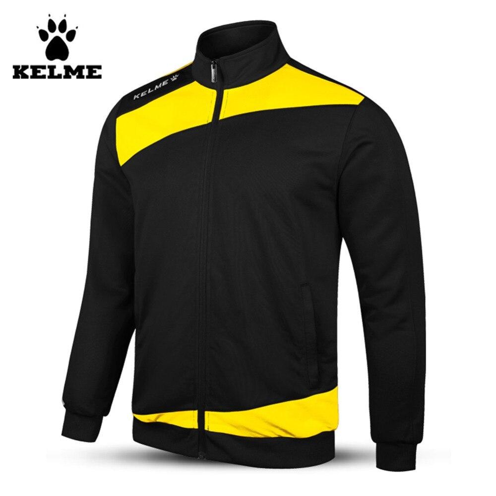Kelme enfant complet Zip tricoté à manches longues col montant Football formation veste noir jaune K15Z315