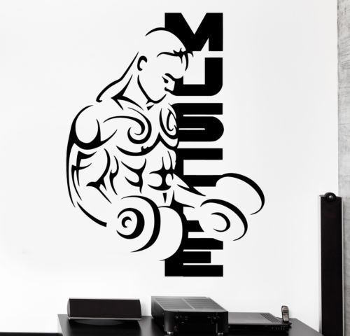 2015 Fitness Vinyl Wall Decals Sport Muscle Man