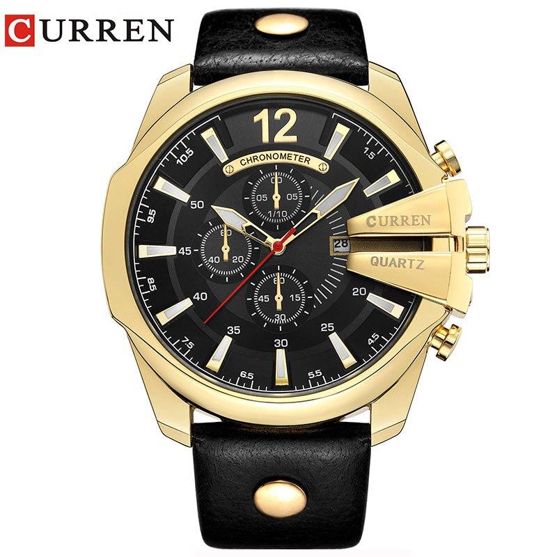 aadc55bbe7c3 Curren mens relojes Top marca de lujo gran dial deporte Relojes de cuarzo  banda de cuero reloj hombres reloj Relogio Masculino