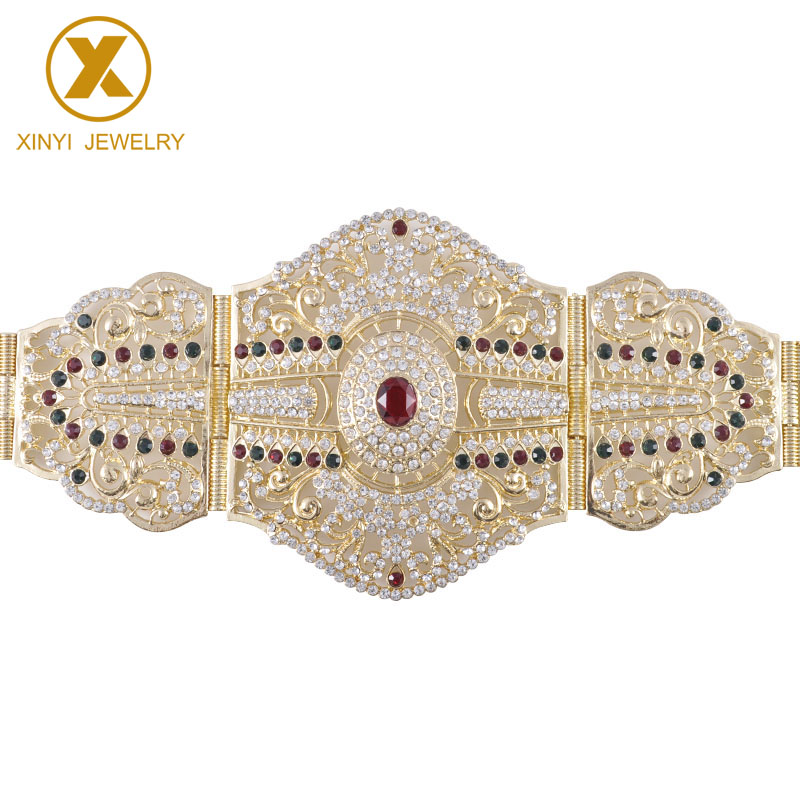 Fashion Aristocrat Cut-out Long Sleeve Ladies Wedding Dress Metal Belt Colored Rhinestone Party Wedding Jewelry Decoration Belt