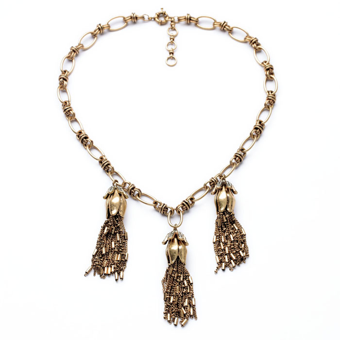 US $28 97 30% OFF|N00988 Beauty Latest Wholesale Latest Imitation Jewelry  Unique Women Brass Vintage Gold Korean Chain Tassel Pendants Necklaces-in
