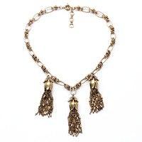N00988 Beauty Latest Wholesale Latest Imitation Jewelry Unique Women Brass Vintage Gold Korean Chain Tassel Pendants Necklaces