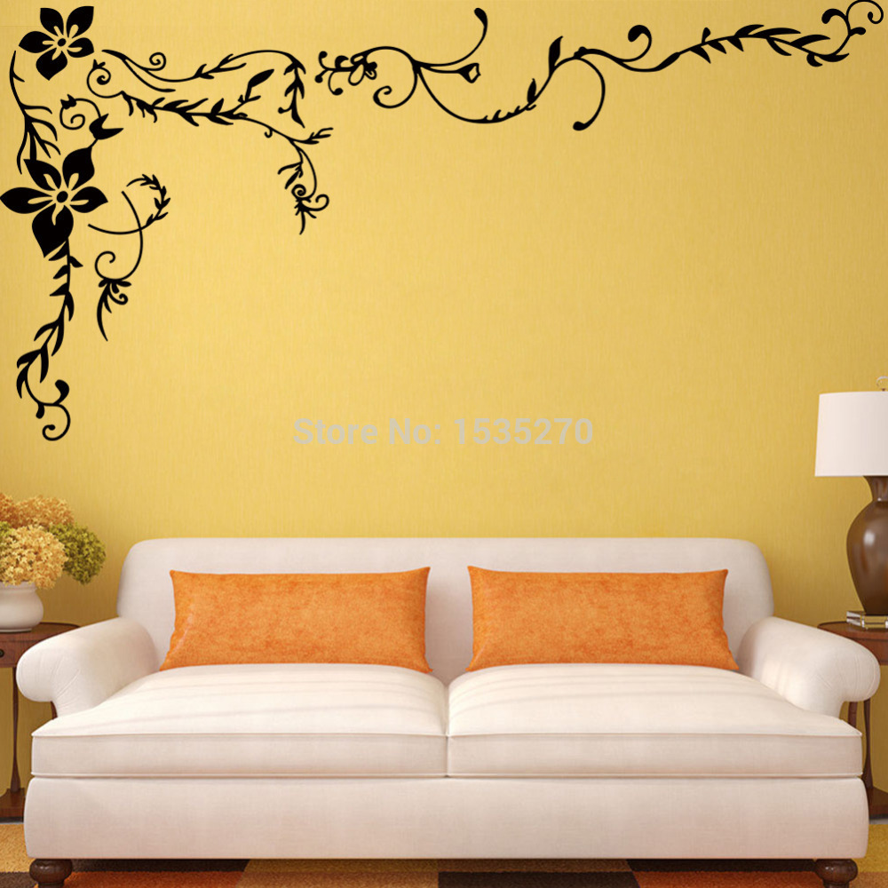 Wonderful Flower Vine Wall Stickers For Home TV Background Wall Art ...