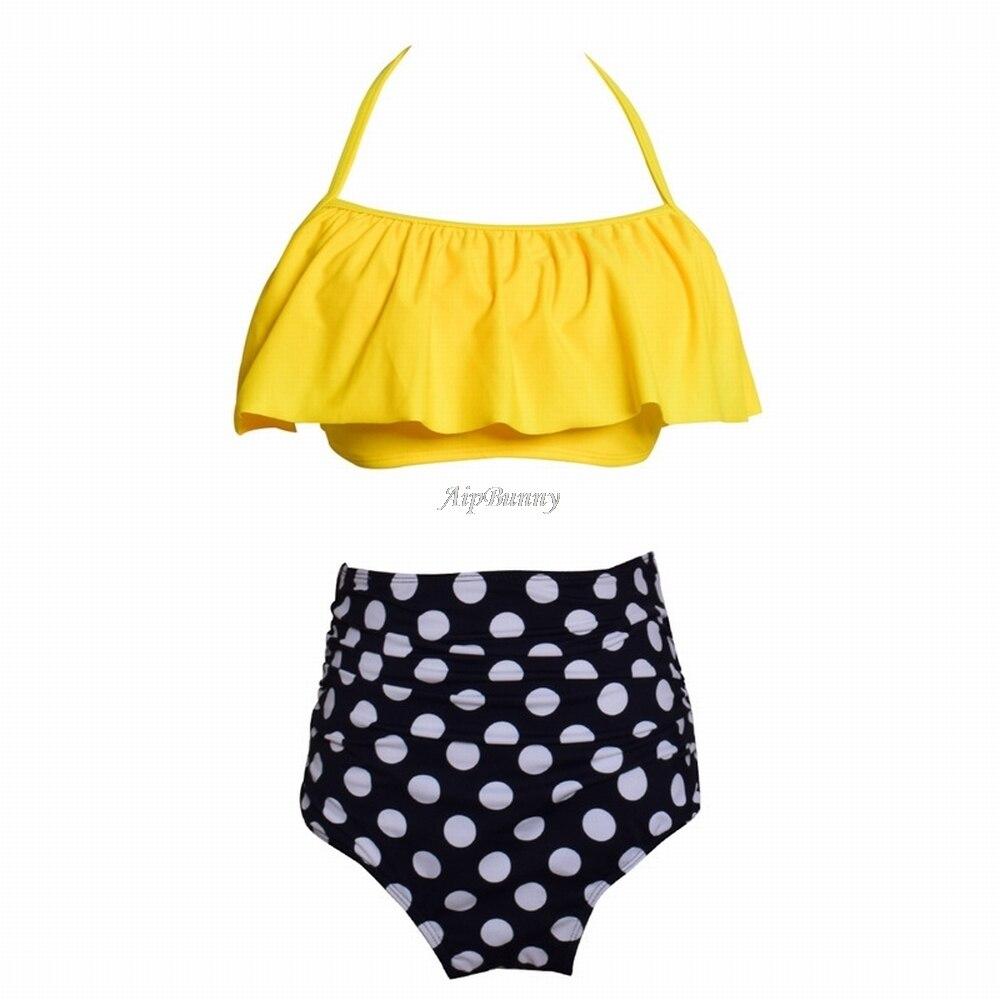 Sexy Dot Printed High Waist Ruffle Parent Child Swimsuit Women Flouncing Halter Bikini Set Girl Mujer Swimwear Kids Beach Suit in Bikinis Set from Sports Entertainment