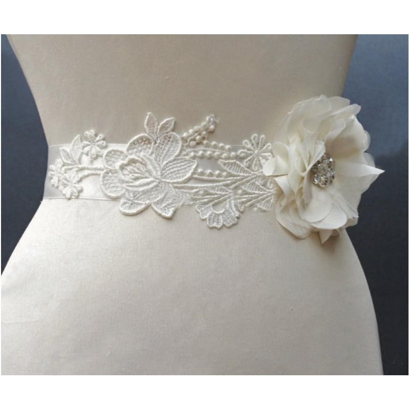 O In Stock Cheap Flower Lace 1 Bridal Bridal Sashes Crystals Lovely Romantic Romantic