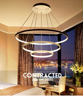 3 ring acrylic Chandelier Brightness Dimmable Modern round pendant lamp 90 260V 40/60/100CM Simple personality pendant lamps.