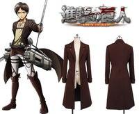 нападение на титане shingeki нет kyojin эрен Jaeger rivaille косплей костюм длинное пальто, куртки