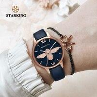 STARKING Brand 2018 New Fashion Dark Blue Watch Woman Genuine Leather Wrist Watch Luxury Golden Ladies Watch Women Dress Clock