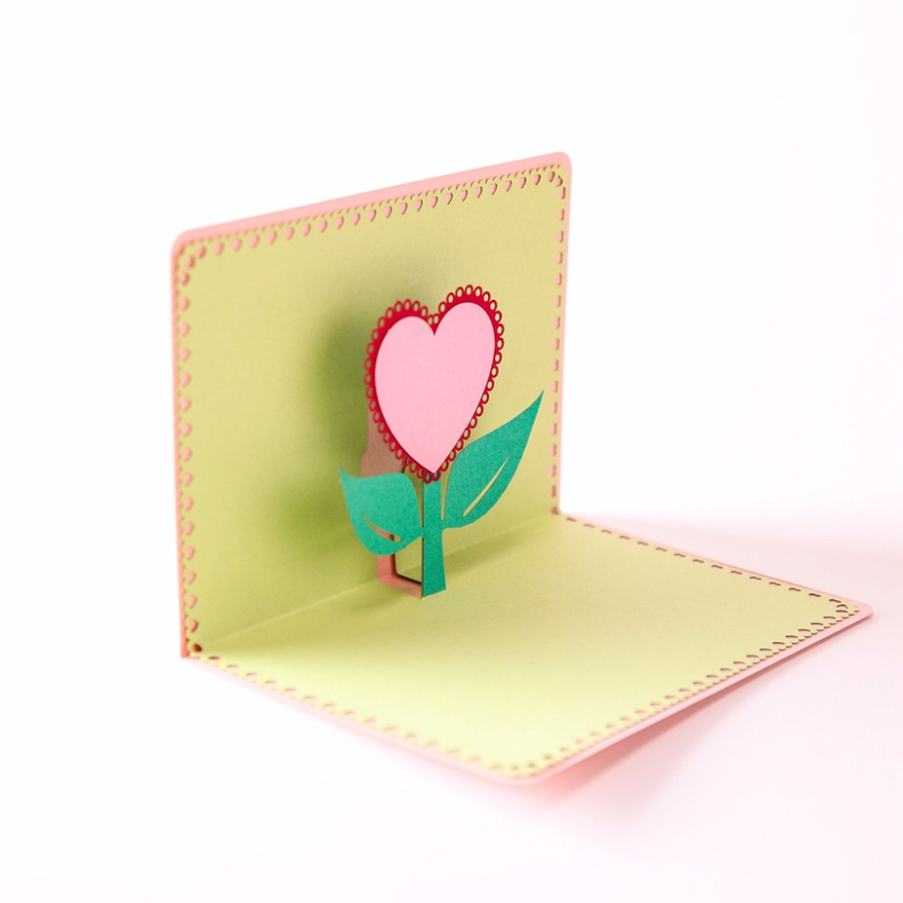 New 3D Pop Up I Love Mom Greeting Cards Postcard Love Heart Pattern Cards Birthday Christmas Mothers Day Gift C42