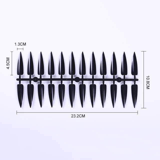 240Pcs Stiletto False Nail Tips Long Transparent Black Full Cover Fake Nails Salon Tips Manicure Practice Display Tools