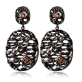 DC1989 Unique Ancient Look Women Black Gold Plated Earrings Big Dangling Contrast Red Purple Synthetic Cubic Zircon Bezel Set