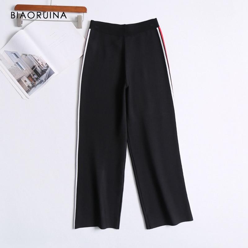 BIAORUINA Women Chic High Quality Casual Side Striped   Pant   Women's Loose   Wide     Leg     Pant   High Waist Fashion   Pant   Trousers