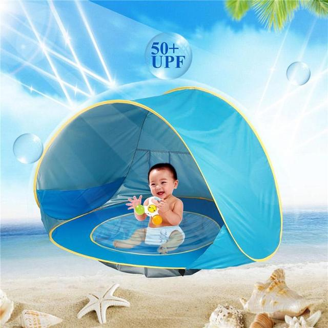 Children Waterproof Pop Up Sun Awning Tent Baby Beach Uv Protecting Sunshelter With Pool