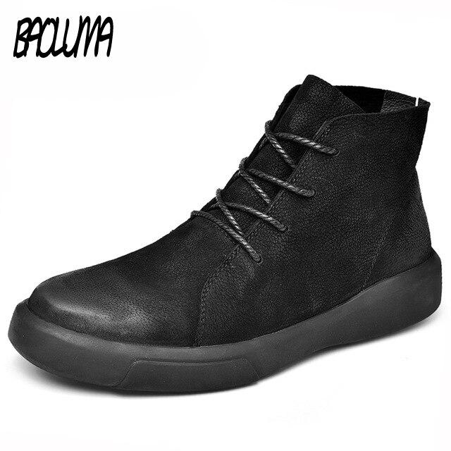 リアルレザー男性ブーツ秋冬暖かい雪のブーツ男性冬のブーツ作業靴男性靴のゴム足首の靴