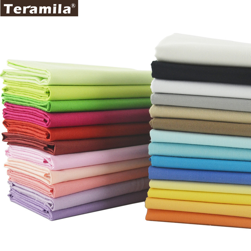 Teramila Cotton Fabrics 25 Solid Colors Charm Packs Fat Quarter Meter Home Textile For Bedding Quilting Patchwork Craft Clothing