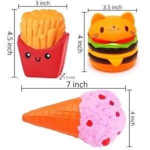 Image 4 - 3Pcs Zachte Ijs Hamburger Squishy Set Jumbo Langzaam Stijgende Voedsel Anti Stress Squish Speelgoed Voor Kinderen Volwassen squeeze Xmas Gift
