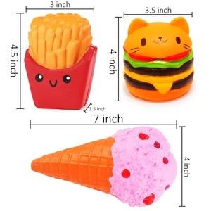 Image 4 - 3pcs Soft Ice Cream Burger Squishy Set Jumbo Slow Rising Food Anti Stress Squish Toy for Kids Adult Squeeze Xmas Gift
