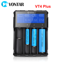 VONTAR VT4 Plus LCD Battery Charger Rechargeable Battery 3.7V For Li ion NiMH Ni CD LiFePo4 AA AAA 26650 14500 22650 18650 C