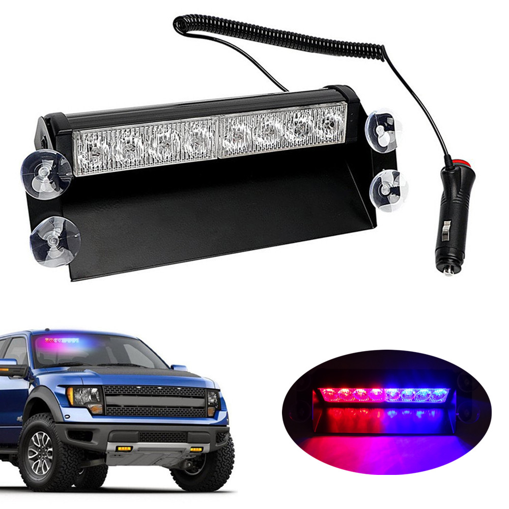 8 LED Emergency Strobe Light 3 Flash Mode 12V Car Truck Dashboard Warning Flashing Lights Bar Vehicle Safety Signal Lamp