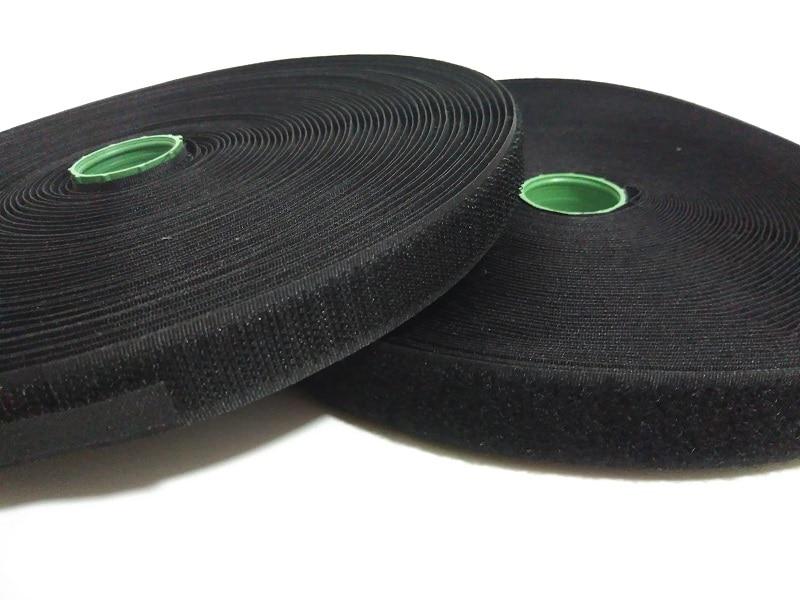 2 Rollos / juego 2 cm * 25 metros de ancho cose en la cinta de sujeción de gancho y lazo para la ropa Tela de lazo de gancho no autoadhesiva blanca o negra
