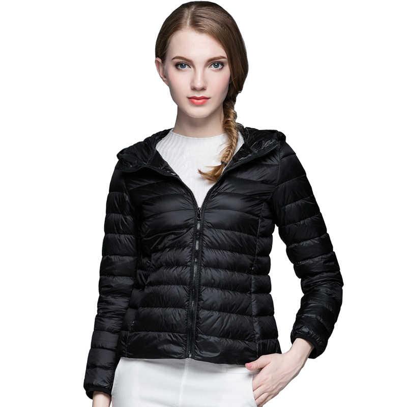 Женская зимняя куртка-пуховик с длинным рукавом, однотонное женское теплое пуховое пальто, новинка 2019 года, Женское зимнее пальто с капюшоном, Casaco Feminino