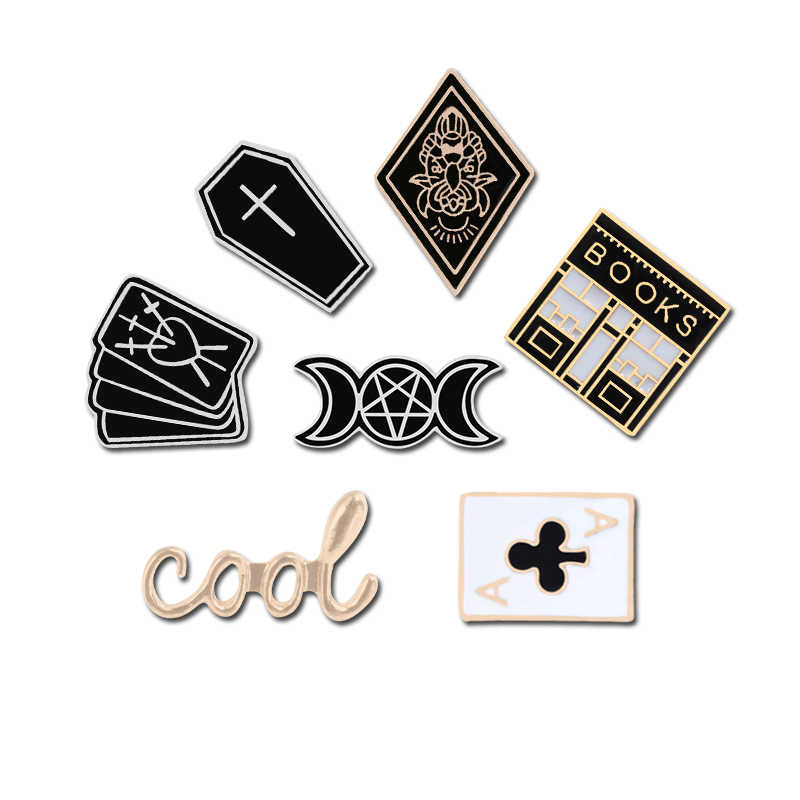 Gothic Stijl Coffin Broche Ouija Hekserij Card Poker Casino Spel Emaille Pin Ban Boek Drak Metalen Pictogrammen Maan Fase Cool badges