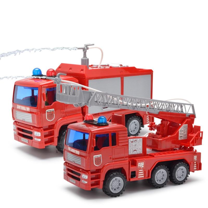 купить Children Water Spray Toy Fire truck Fireman ladder truck inertia car engineering truck large boy toy car Legal Educational Toys по цене 1523.75 рублей