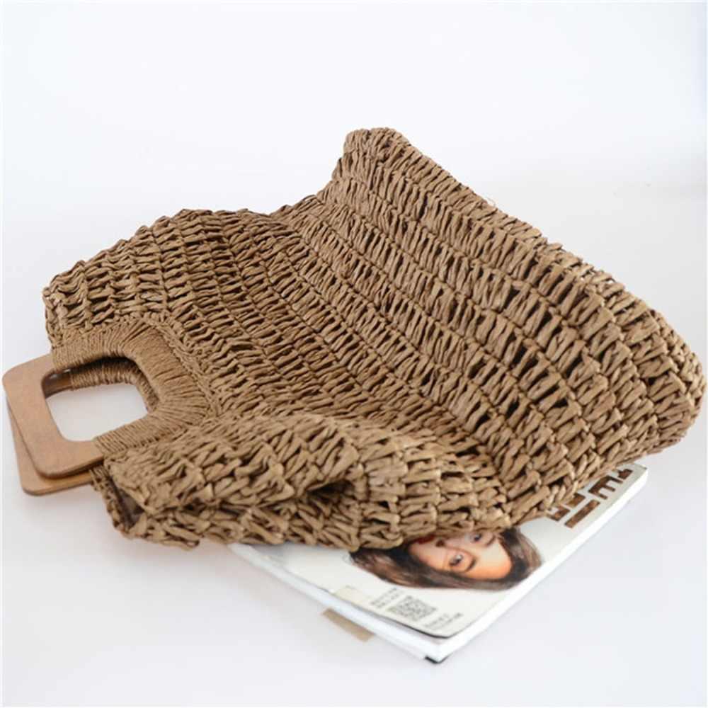 Venda quente Rodada Saco Da Praia Da Palha Do Vintage Handmade Woven Sacolas sacos de Vime círculo Boêmio Férias de Verão Grande Saco Ocasional