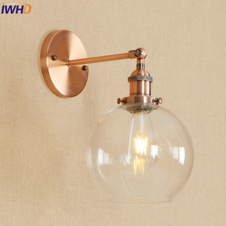 IWHD Iron Retro Loft Wall Lamp RH Vintage Industrial LED Wall Light With Glass Lampshade Fixtures For Home Lighting Luminaire