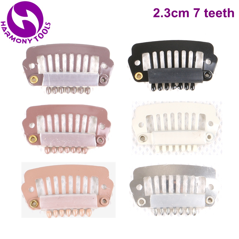 (Black, D Brown, M Brown, L Brown, Blonde, Silver) 100PCS 2.3cm 7 teeth Stainless Steel Silicone Snap Clips for Hair Extension