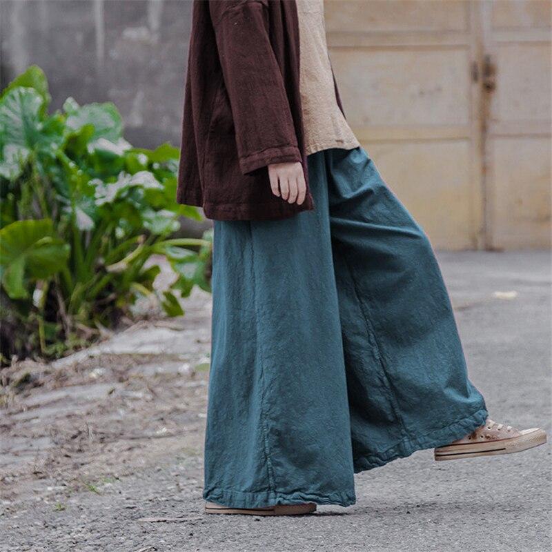 Johnature Women   Wide     Leg     Pants   Cotton Linen 2018 Autumn Plus Size Women Vintage Pockets Cotton Linen Loose Women Trouser
