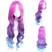 цены на LOL Miss Fortune for Women Long Curly Wavy Cosplay Wigs 80cm 300g Synthetic Hair Wig Red Purple Blue Gradient Multicolor Game  в интернет-магазинах
