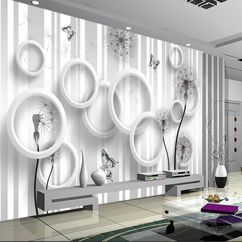 custom 3d modern fashion wallpaper for living room TV background wall decorate wall mural stereoscopic white ring circle mural custom wall mural wallpaper modern minimalist fashion 3d stereoscopic flower butterfly living room tv background wall painting