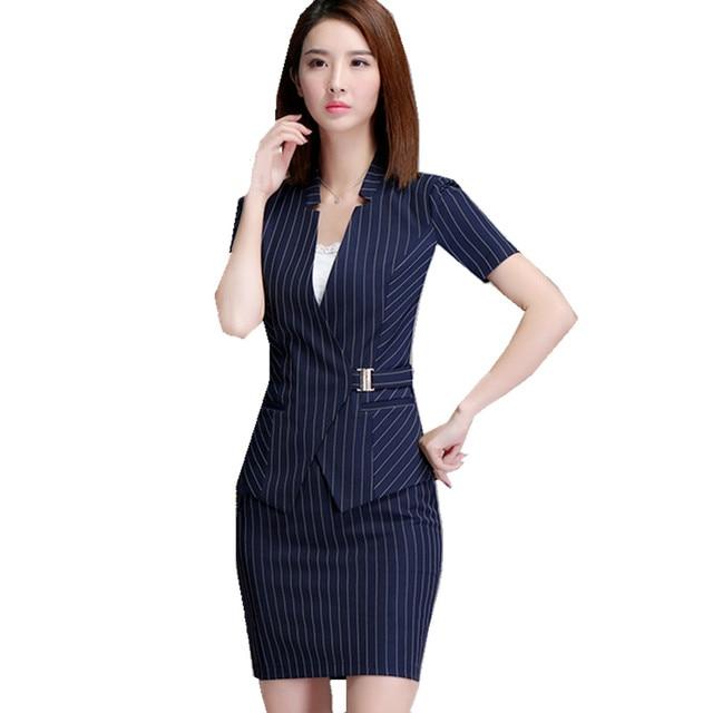 82902c1053 Stirpe Fmasuth Mulheres Escritório Saia Terno Elegante Blazer de Manga  Curta e Saia 2 Peças Conjuntos