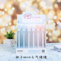 36 pcs Gel Pens Cartoon Kawaii Pig Animals black colored gel inkpens for writing Cute stationery office school supplies 0.5mm