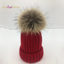 2017 New Solid Raccoon Dog Fur Winter Hats For Women Knitted Brand Casual Warm Fur Hat Female Skullies Beanies